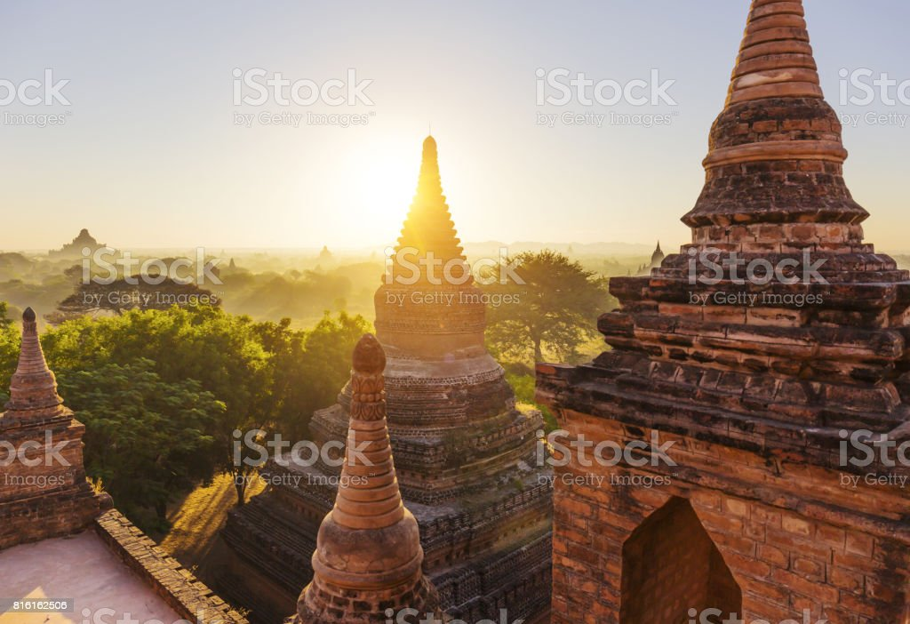 Bagan temple during golden hour stock photo