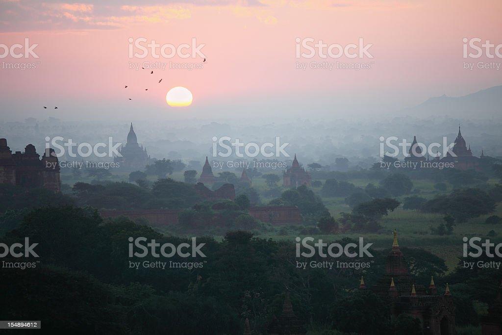 Bagan temple sunrise royalty-free stock photo