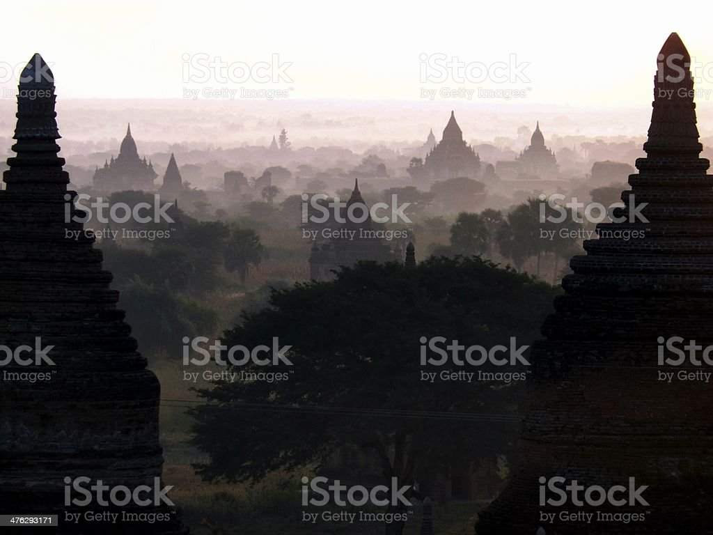 Bagan temples at dawn, landscape view Myanmar royalty-free stock photo