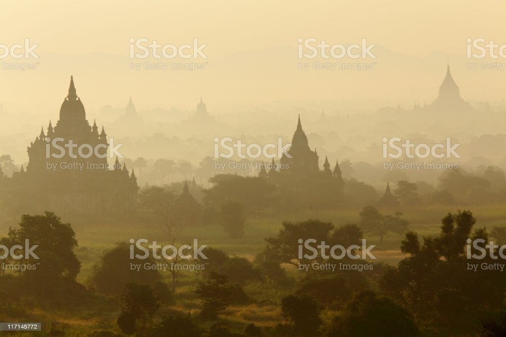 Bagan temples just after sunrise stock photo