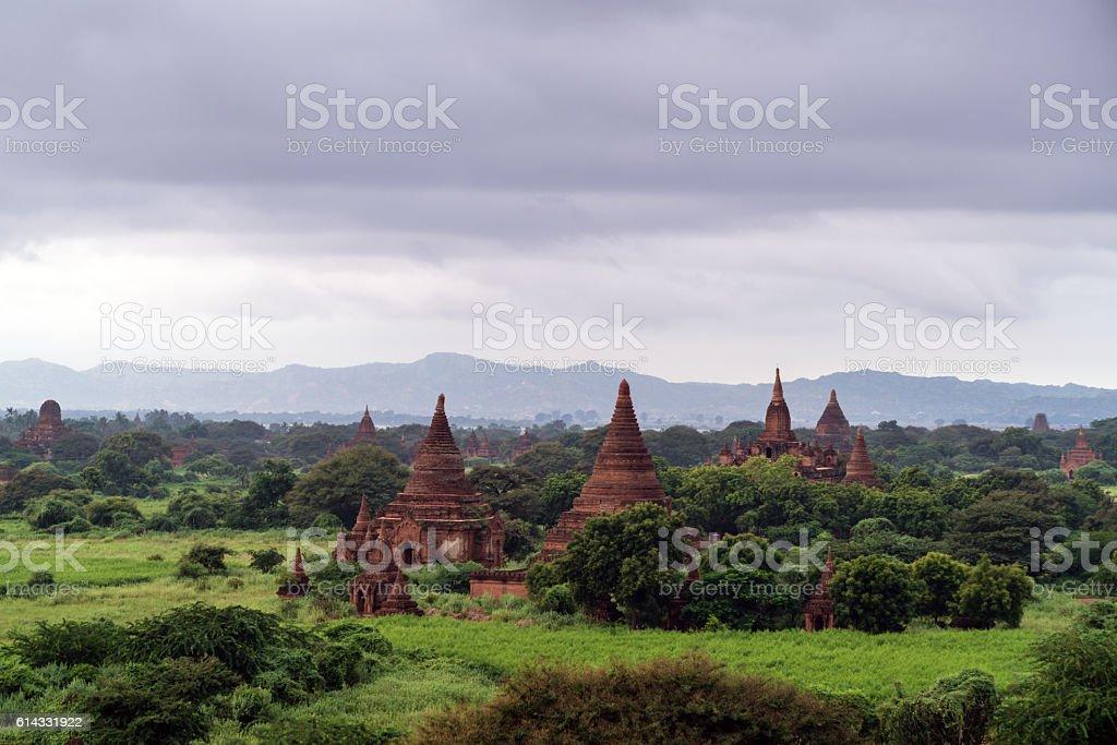 Bagan Temples Rainy Sunrise Mandalay Myanmar stock photo
