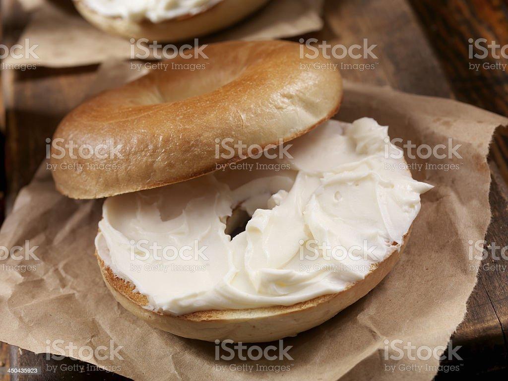 Bagel and Cream Cheese stock photo