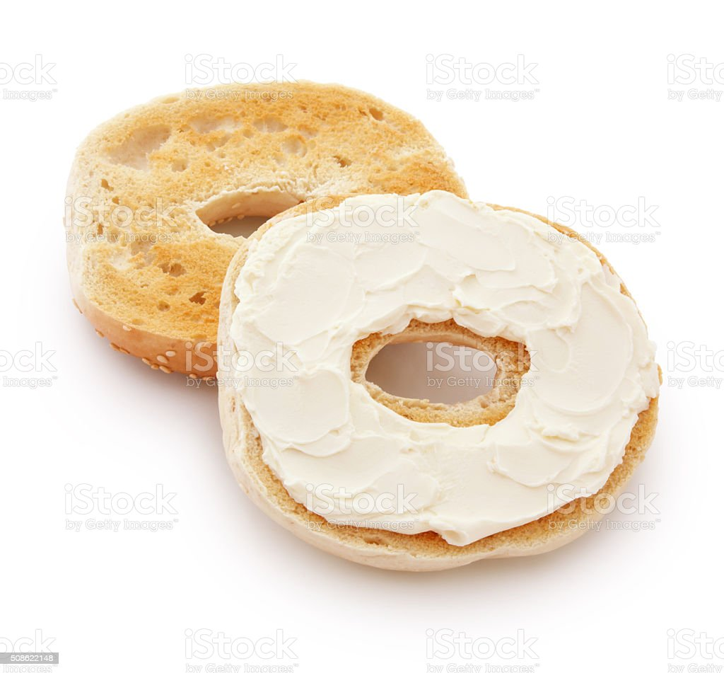 Bagel and Cream Cheese (with path) stock photo