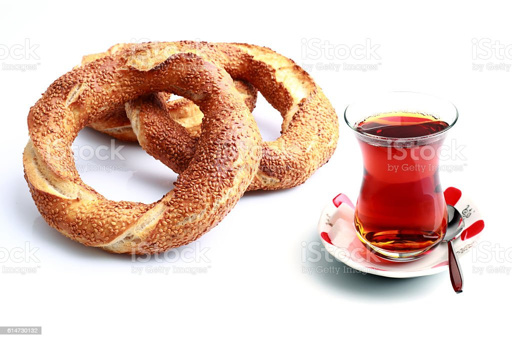 Bagel and tea stock photo