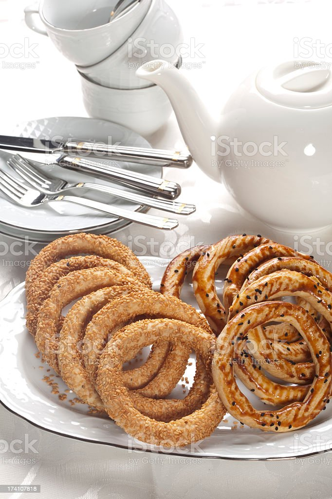 bagel cookies and tea - time royalty-free stock photo