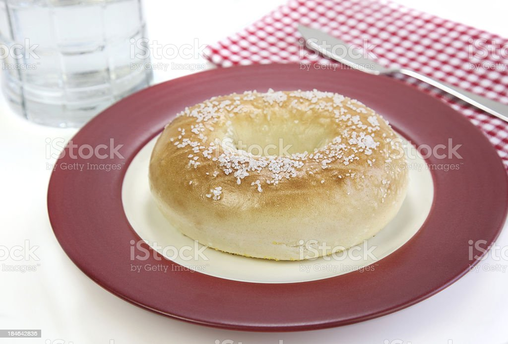 Bagel on Red plate stock photo