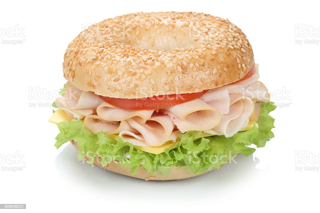 Bagel sandwich with ham isolated stock photo