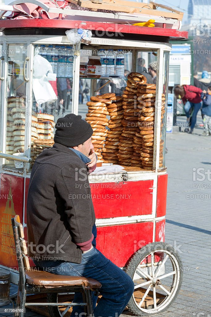 Bagel Seller at Taksim Square Near Istiklal Street, Istanbul stock photo