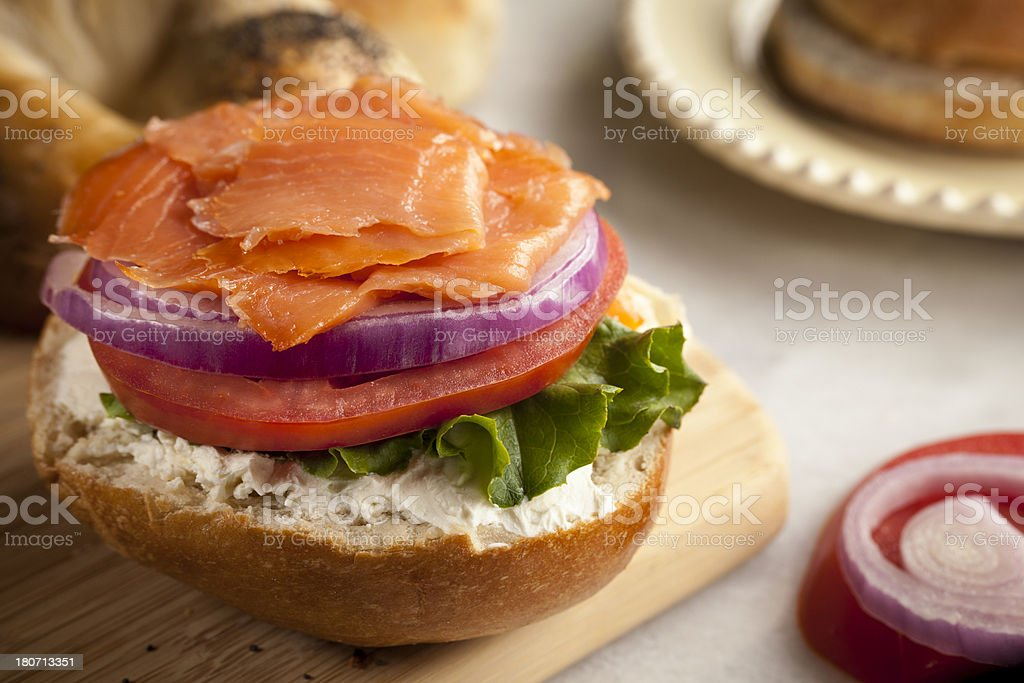 Bagel with cream cheese and lox stock photo