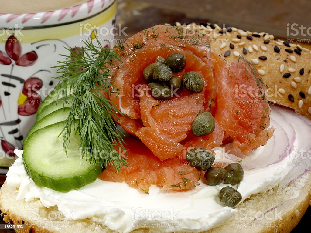 Bagel with cream cheese and lox (gravlax) stock photo