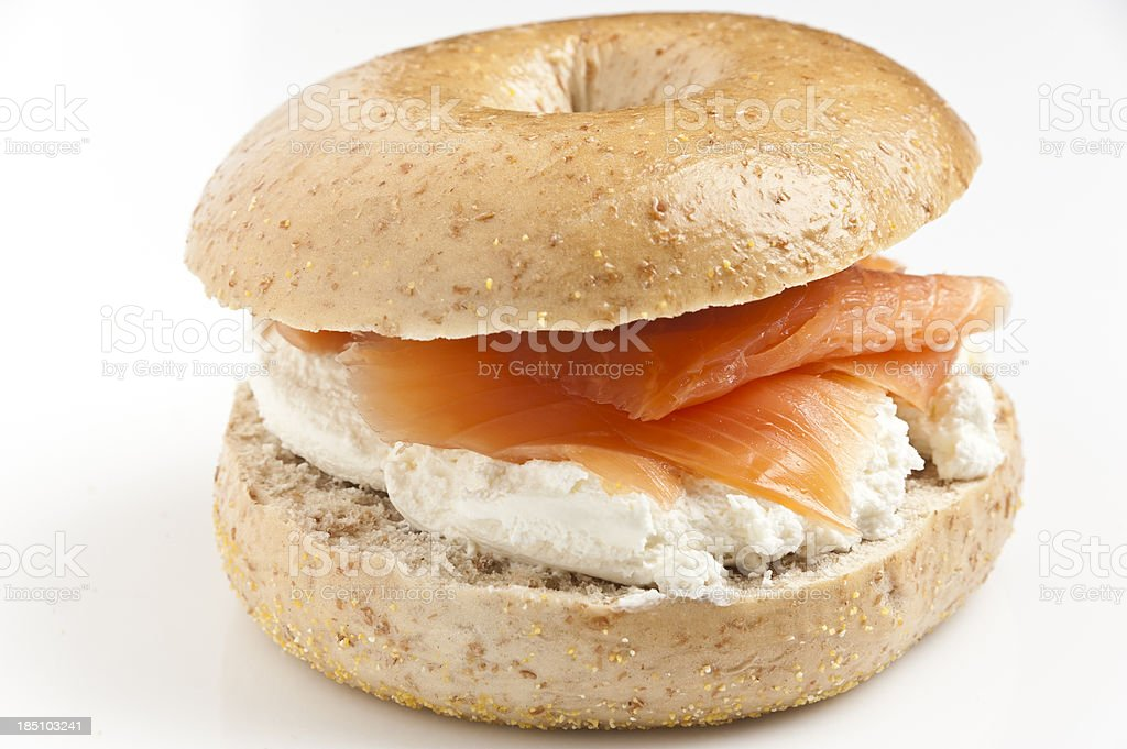 Bagel with cream cheese and smoked salmon stock photo