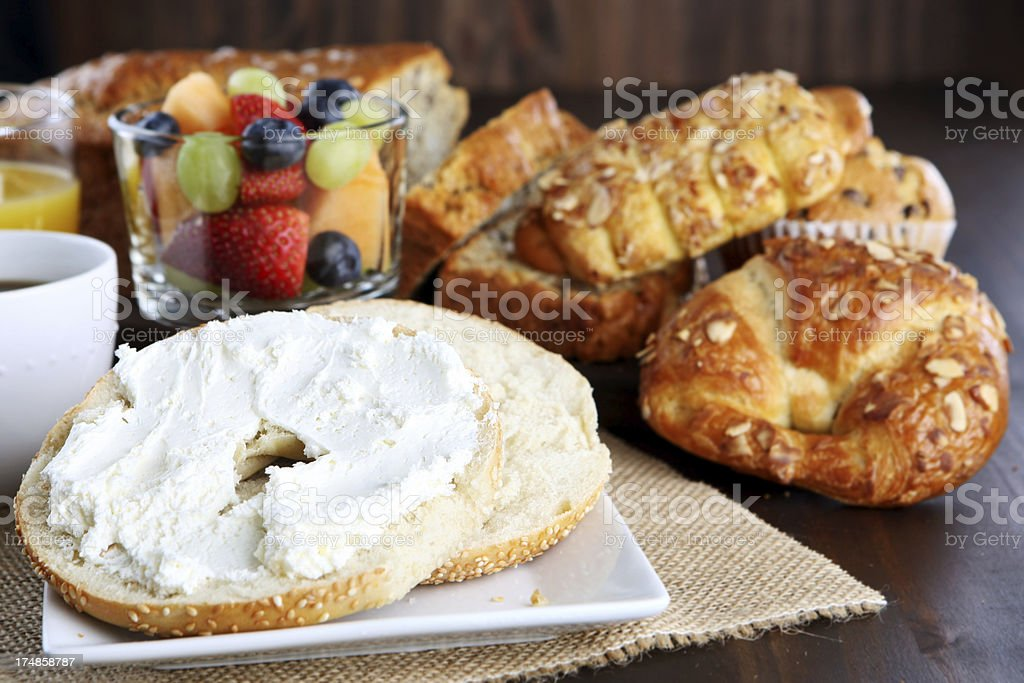 bagel with cream cheese royalty-free stock photo