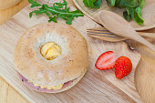 Bagel with ham and Omelets , Healthy Organic whole grain Food