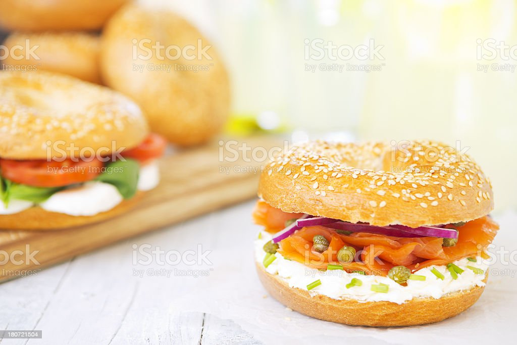 Bagel with salmon and cream cheese, brightly lit royalty-free stock photo