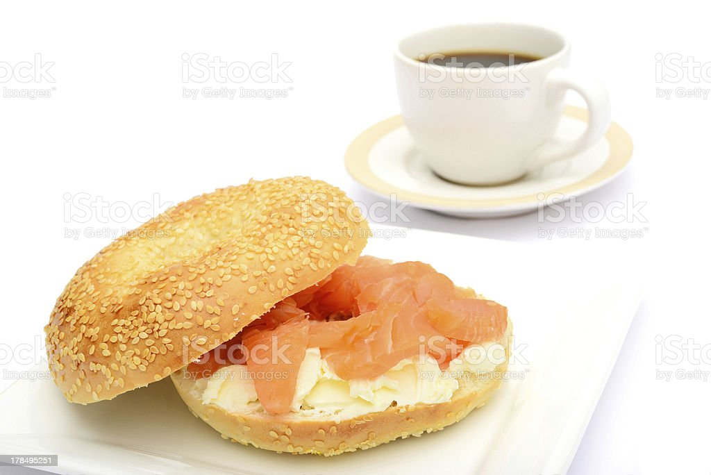 Bagel with smoked salmon and coffee royalty-free stock photo