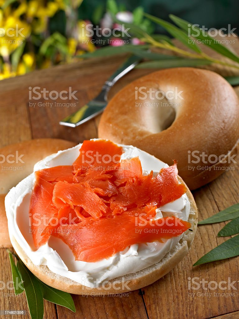 Bagel with Smoked Salmon. royalty-free stock photo