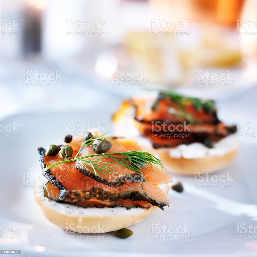 bagels and lox stock photo