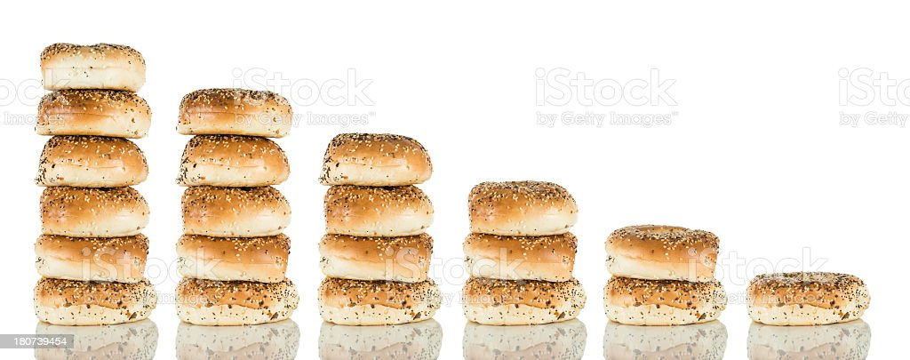 Bagels - Multiple stacks royalty-free stock photo