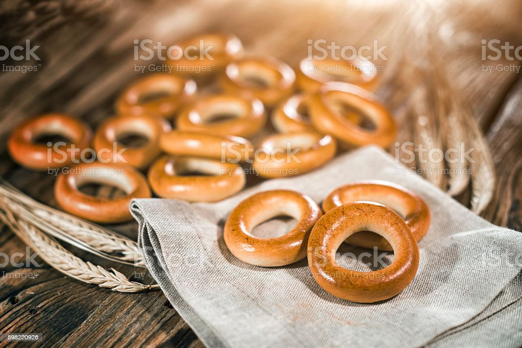 Bagels on a wooden background stock photo
