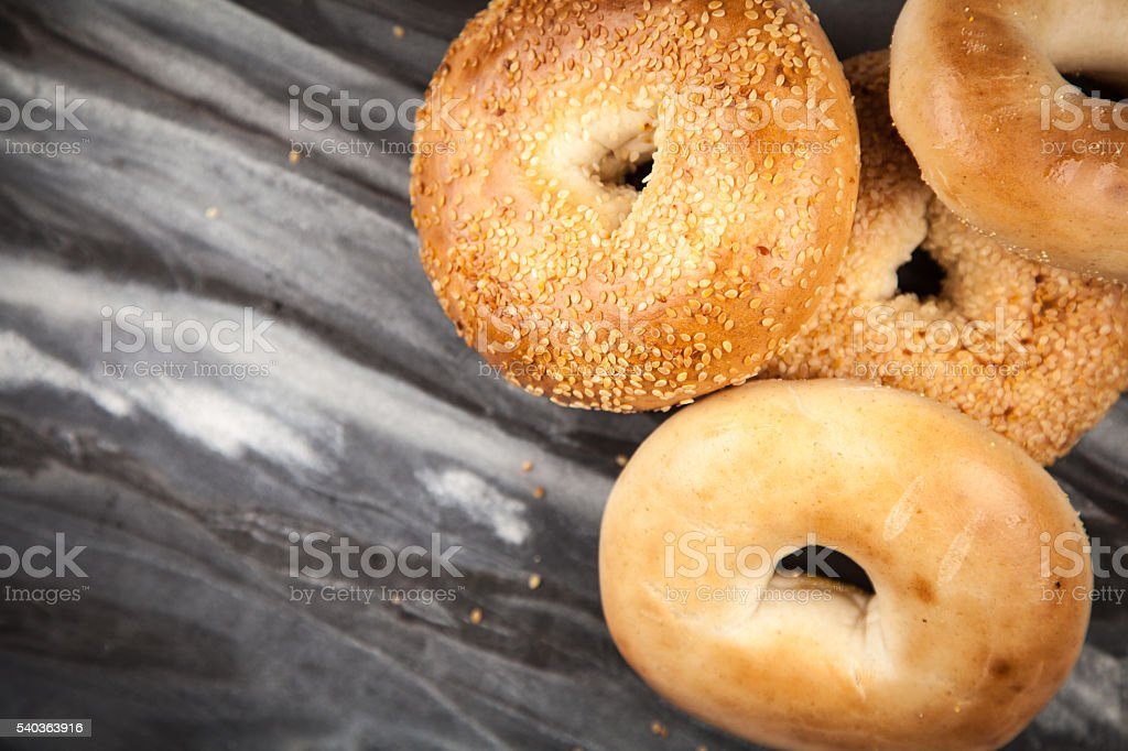 Bagels on gray background stock photo