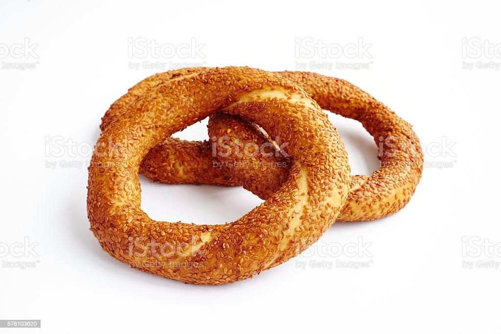 Bagels on white surface stock photo