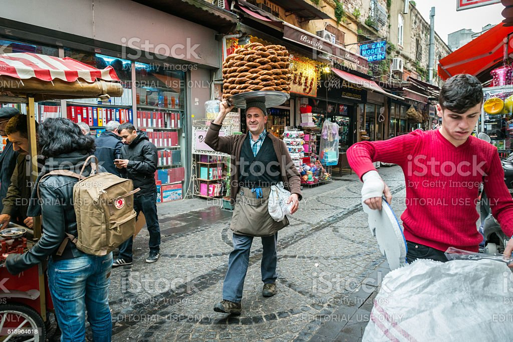 Bagels seller in Istanbul, Turkey stock photo