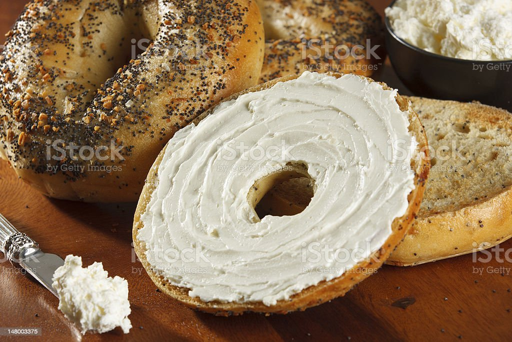 Bagels with Cream Cheese stock photo