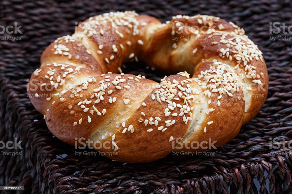 Bagels with sesame seeds stock photo