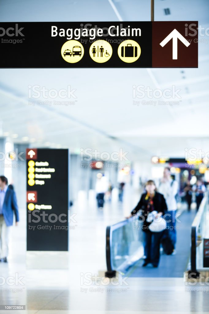 Baggage Claim Sign at the Airport royalty-free stock photo