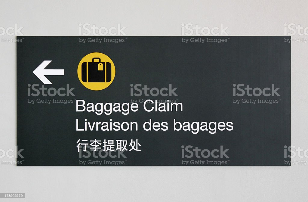 Baggage claim sign royalty-free stock photo
