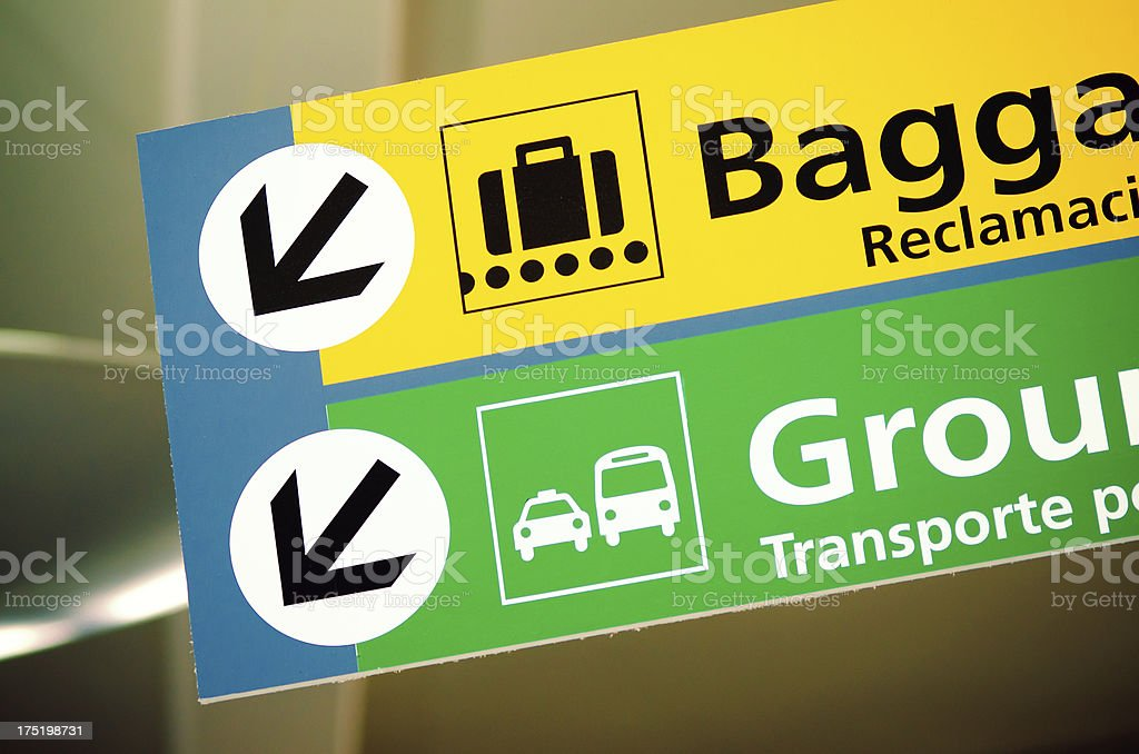 Baggages and ground transportation sign at airport royalty-free stock photo