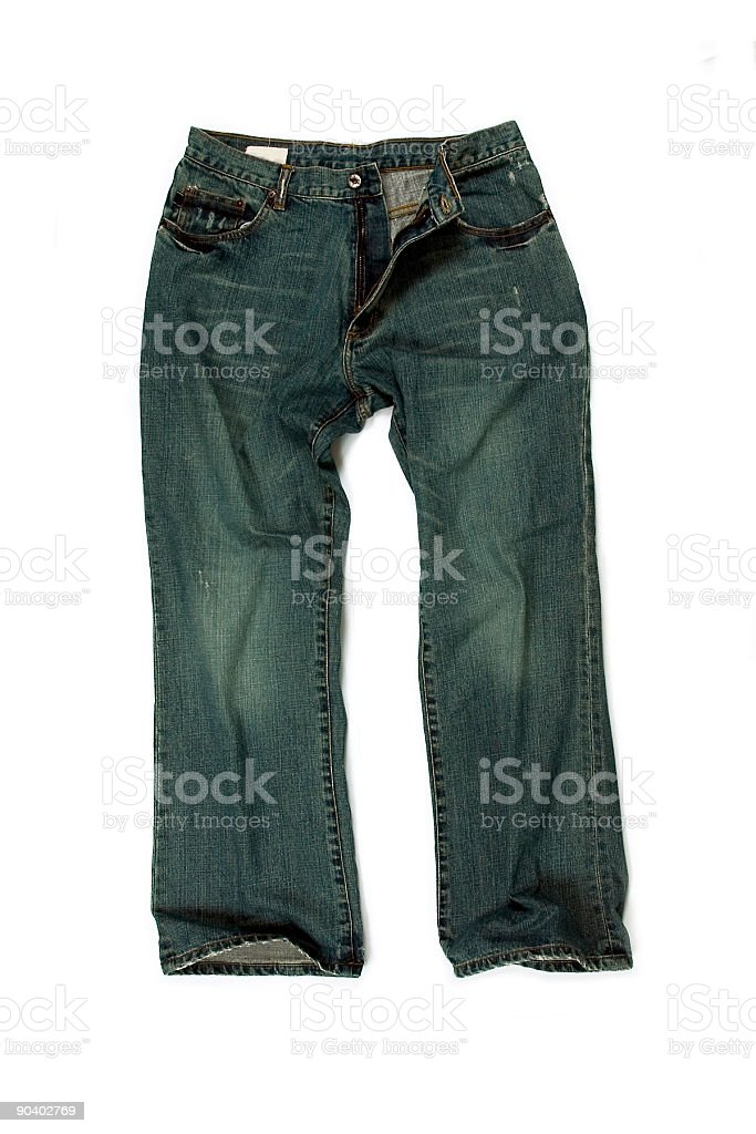 Baggy Straight-Leg Jeans on White Background royalty-free stock photo