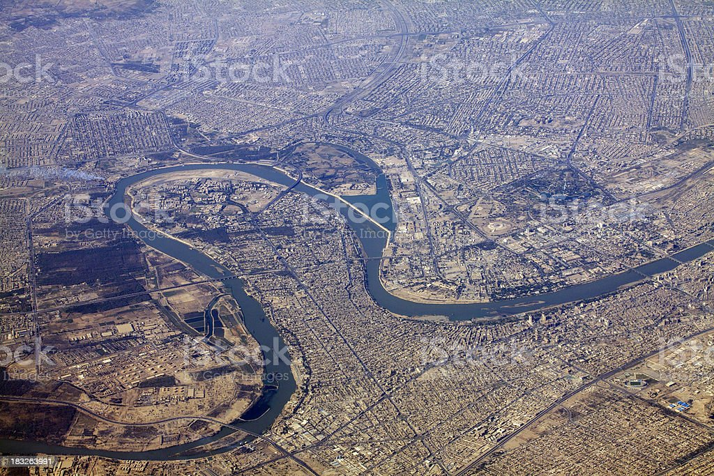 Baghdad and Tigris river stock photo