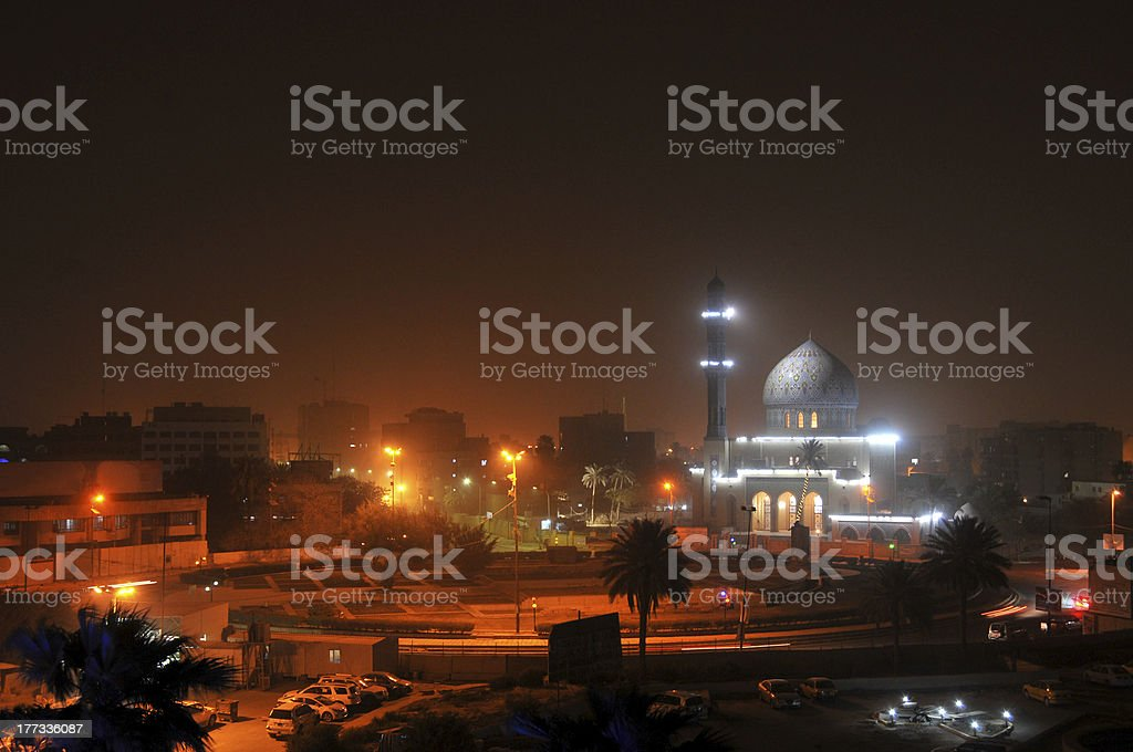 Baghdad by night stock photo
