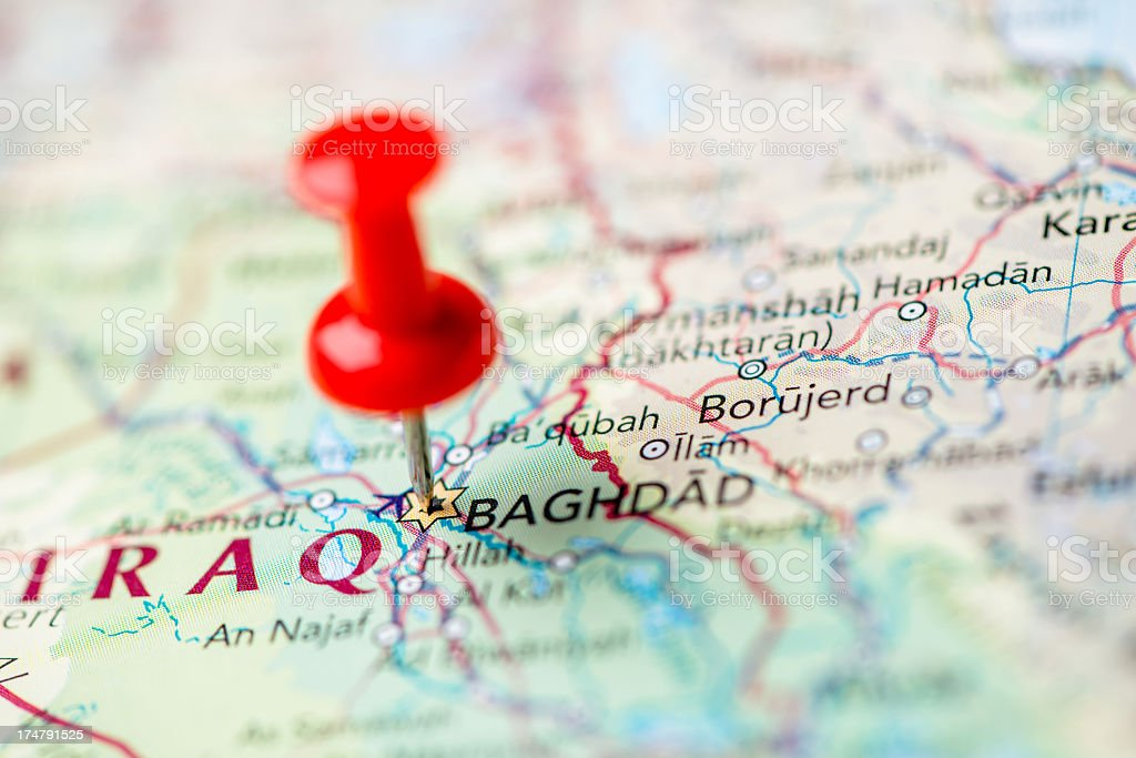 Baghdad map royalty-free stock photo