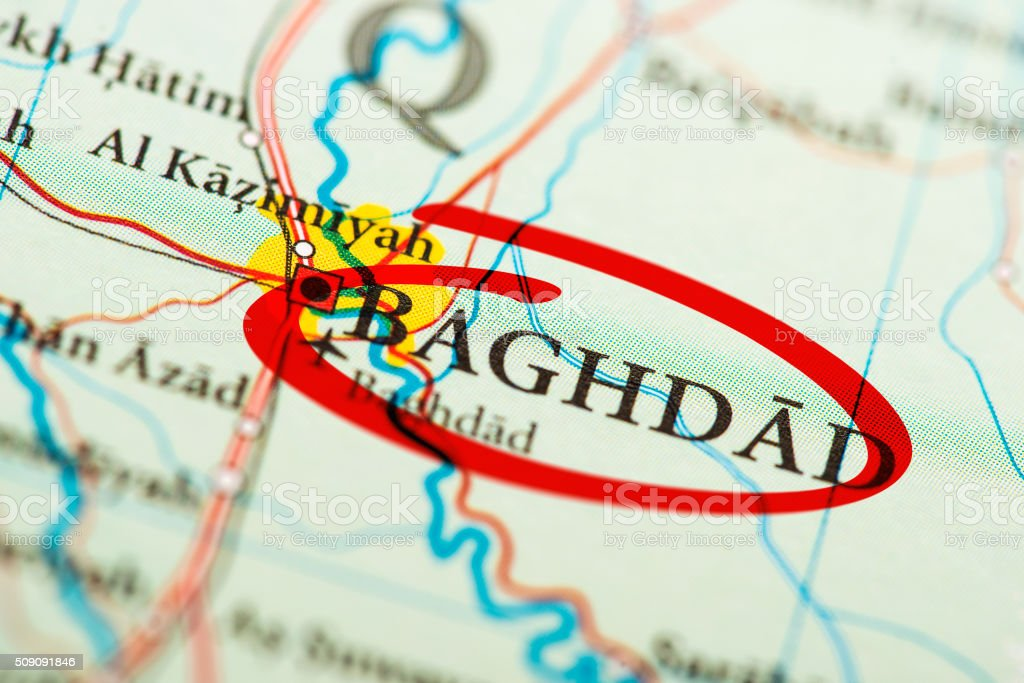 Baghdad marked on map with red marker stock photo