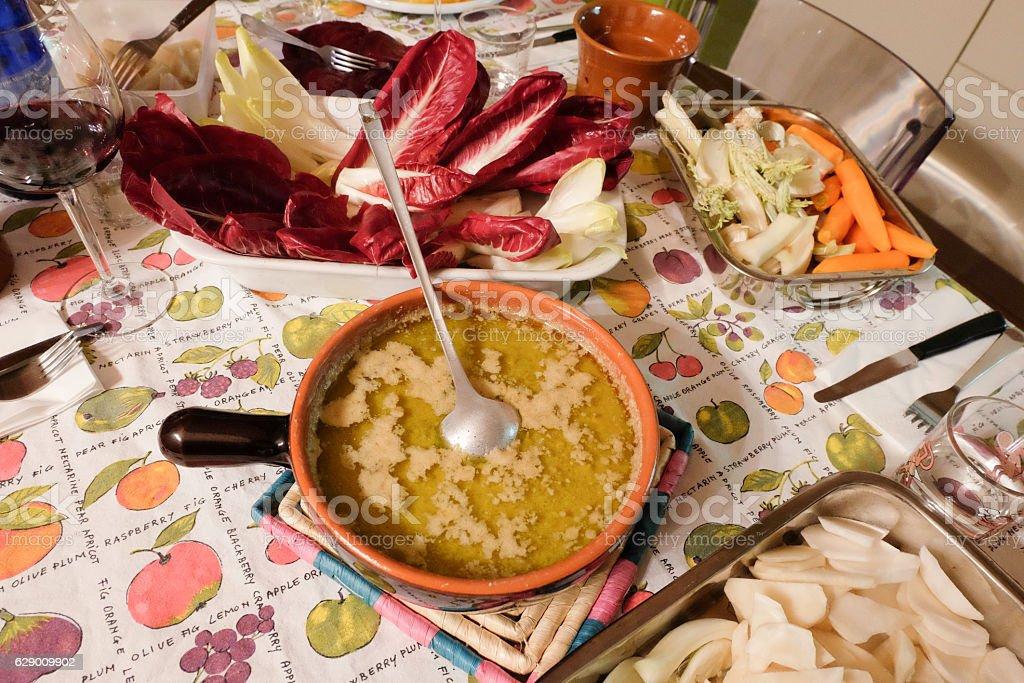 Bagna cauda. Italian dish of Piedmontese cuisine royalty-free stock photo