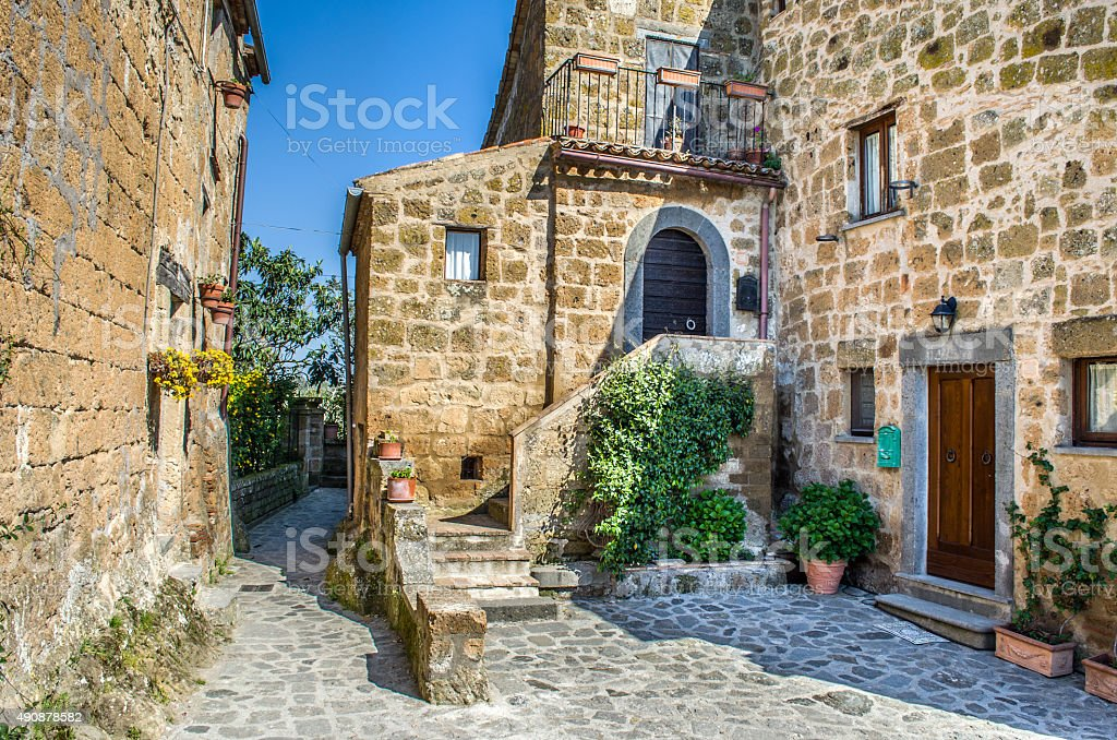 Bagnoregio italian village houses stock photo