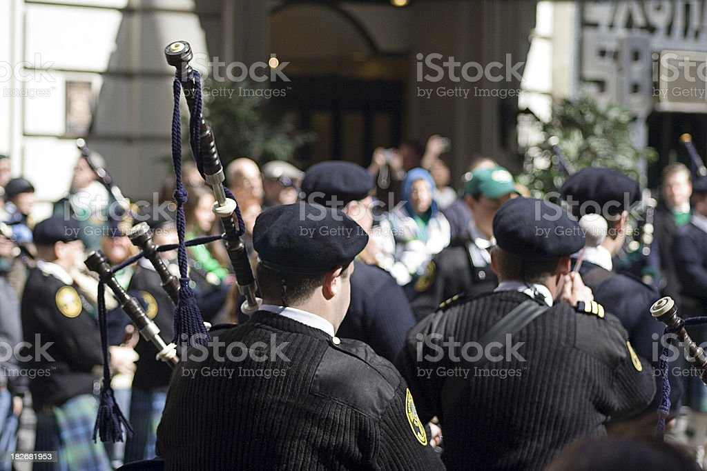 Bagpipe from behind stock photo