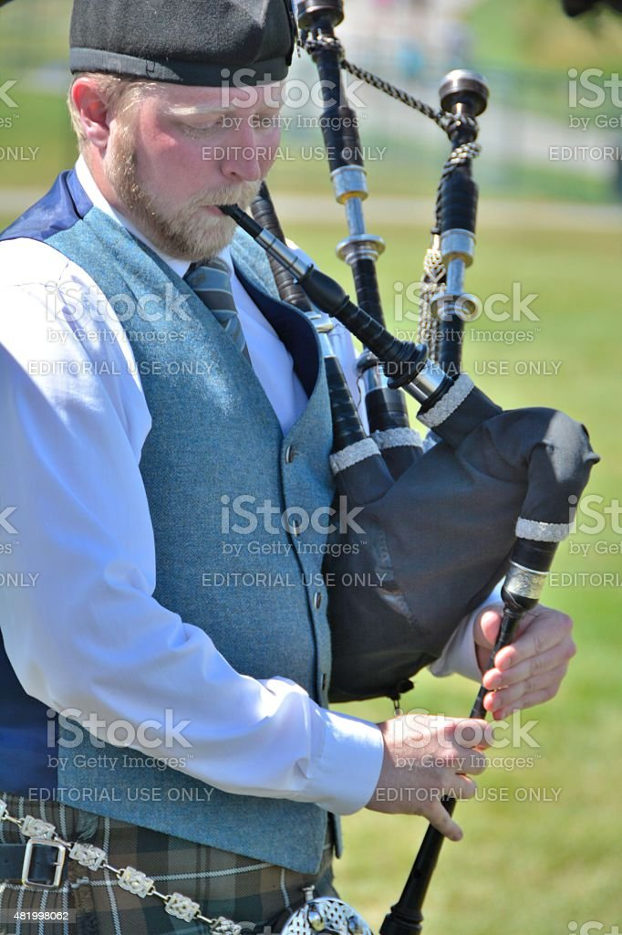 Bagpipe Player stock photo