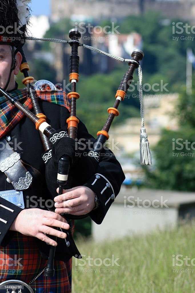 Bagpiper in Carlton Hill - Edinburgh stock photo