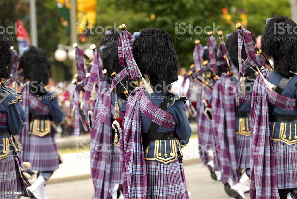 Bagpipers band stock photo