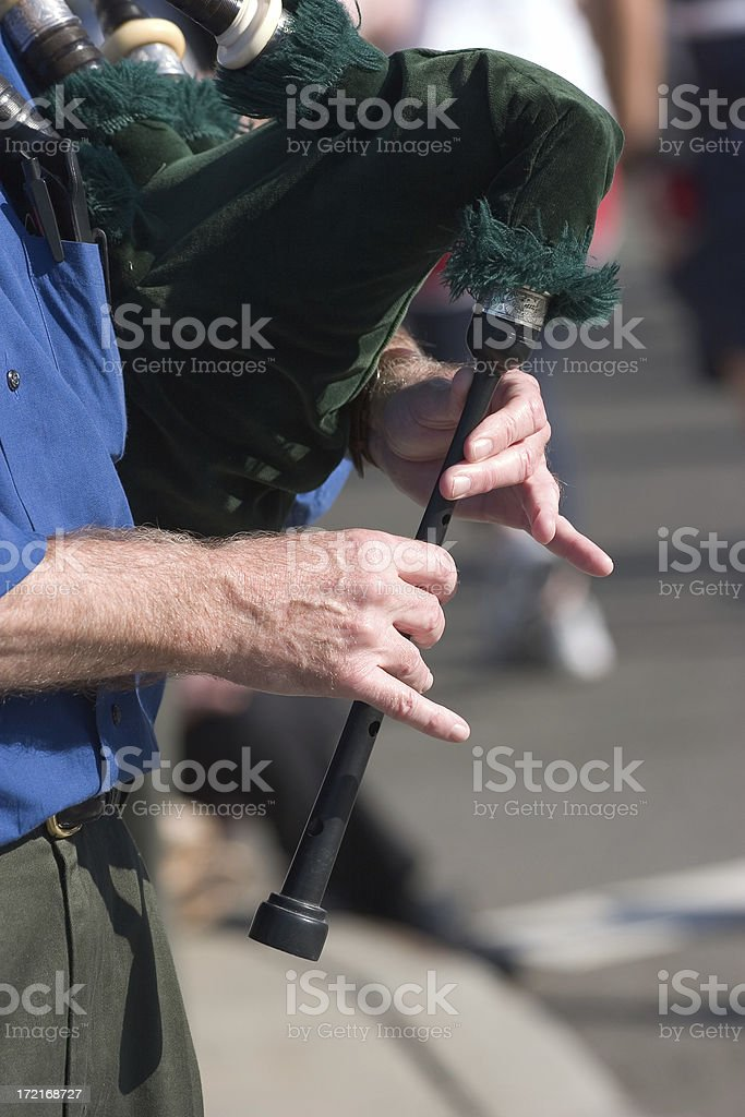 Bagpiper's hands royalty-free stock photo