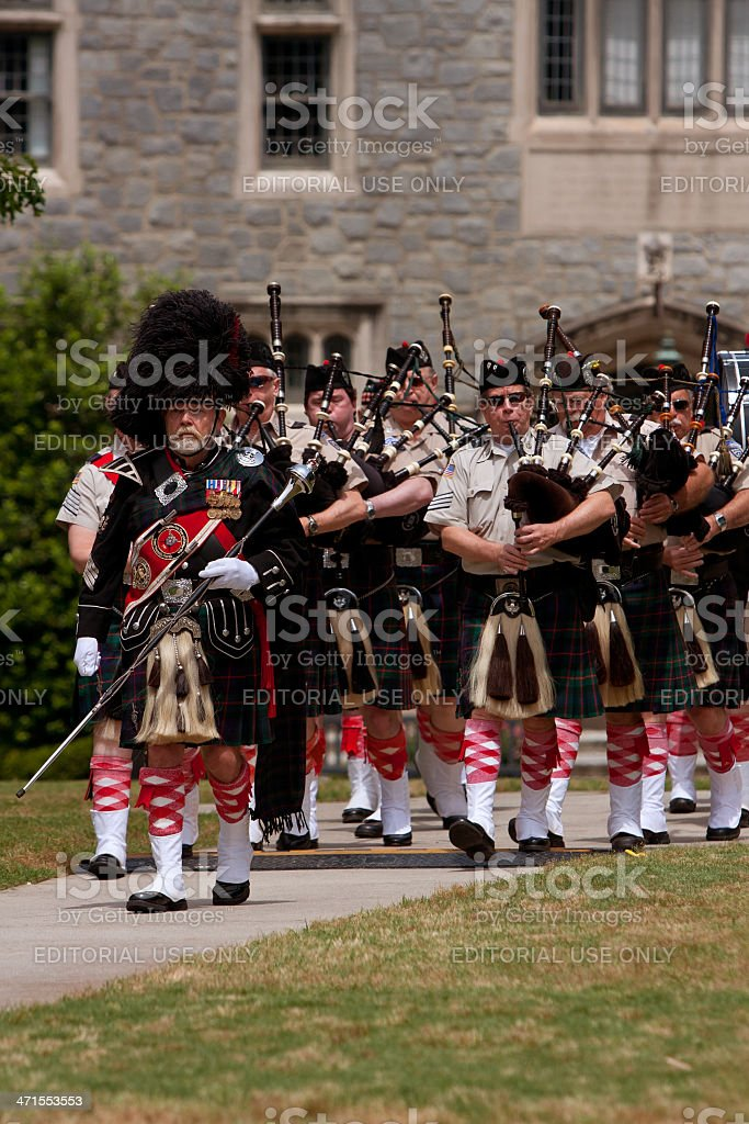 Bagpipes Band Marches and Plays At Spring Festival royalty-free stock photo