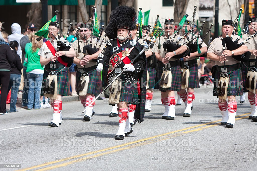 Bagpipes Band Performs In St. Patrick's Parade stock photo