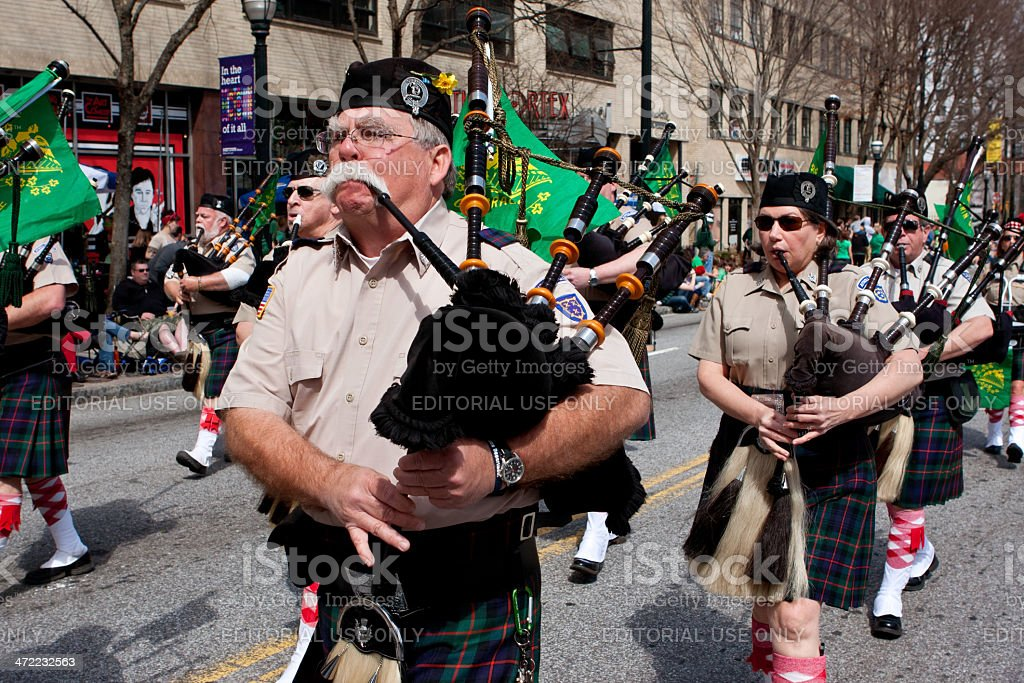 Bagpipes Corps Plays While Marching In St. Patrick's Parade stock photo