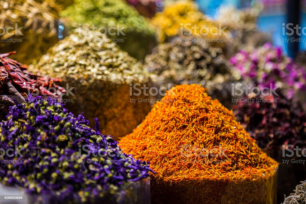 Bags filled with Purple Flower Spice and Dried Marigold stock photo