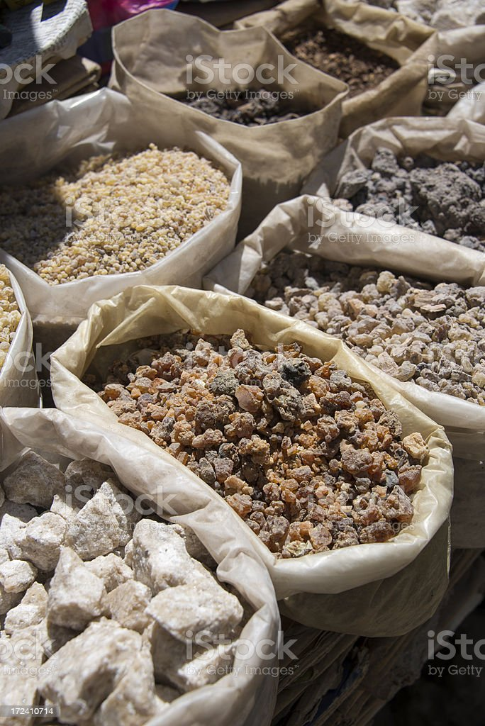 Bags full of olibanum or incense stock photo