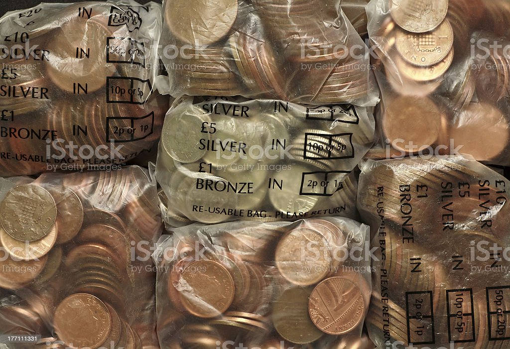 Bags of Coins royalty-free stock photo