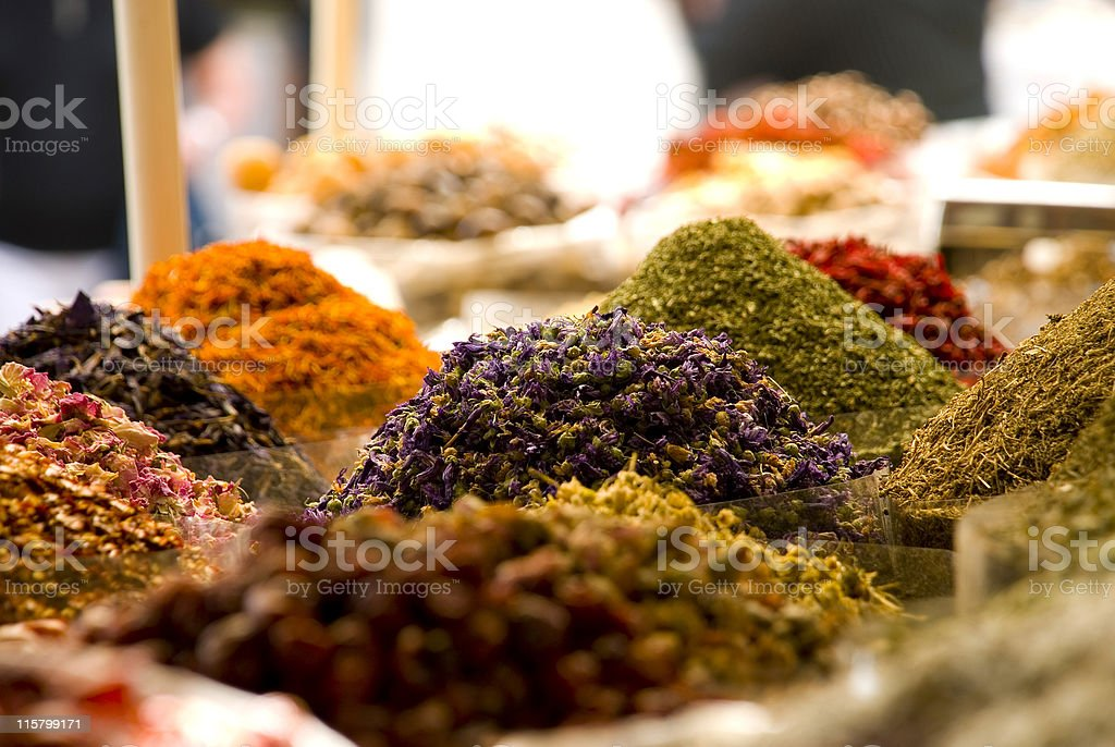 Bags of colorful spices for sale at the Souq stock photo